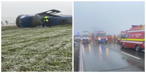 Accident grav în județul Constanța, unde un microbuz plin cu călători s-a răsturnat. Două persoane au murit, iar alte 18 au fost rănite