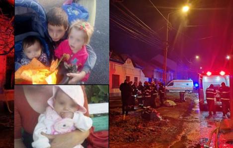Frățiorii Alexandra, Andrei, Antonia şi Adrian au murit arși de vii, în casă. Mama, care plecase după băutură, a postat un mesaj pe Facebook