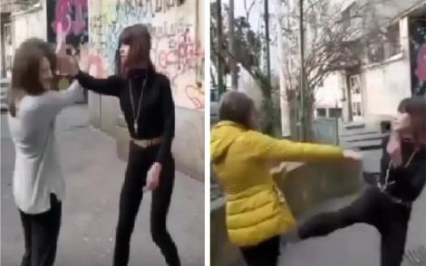 """""""În genunchi!"""". O elevă, bătută de o colegă, la o școală din Craiova! Atenție, imagini greu de privit! – VIDEO"""