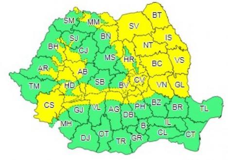 Cod Galben de ninsori în România! Mare parte din țară va fi afectată! Harta zonelor vizate
