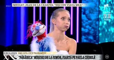 """Crina Zvoboda, moment senzațional cu păsăroiul Costel la Xtra Night Show. Paula Chirilă nu s-a putut abține: """"Tu ce boabe iei?"""""""