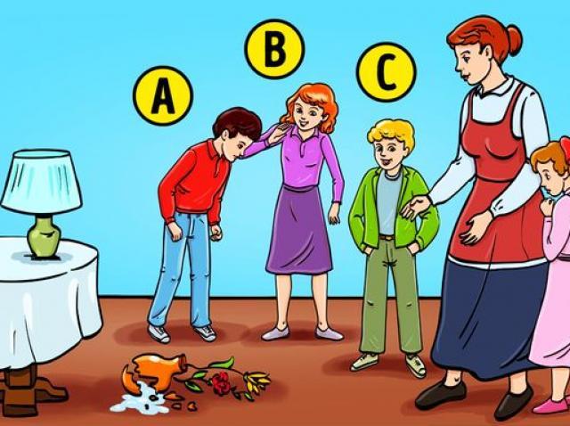 test de personalitate cu desen care arata mai multi copii spargand o vaza