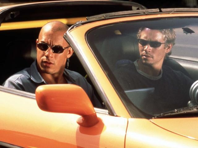 Vin Diesel și Paul Walker, în mașină, la filmările pentru Fast & Furious