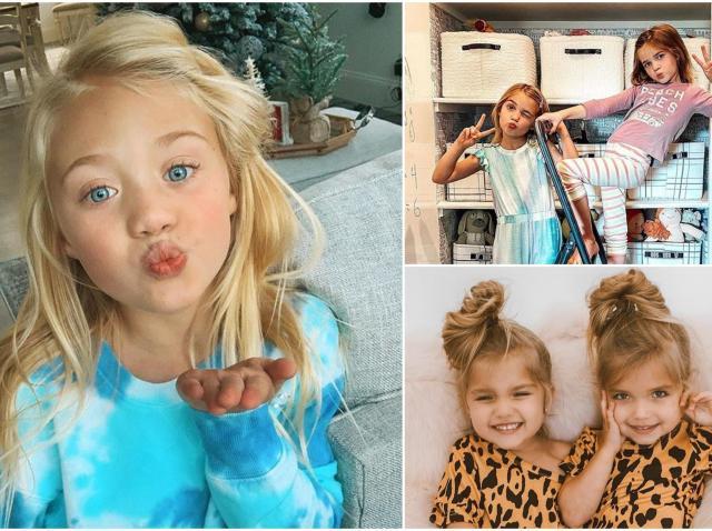 Colaj cu unii dintre cei mai bogați copii de pe Instagram: Everleigh Rose LaBrant, Emma și Mia Stauffer, Taytum și Oakley.