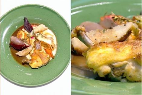 Friptură de pui cu legume și piure de păstârnac