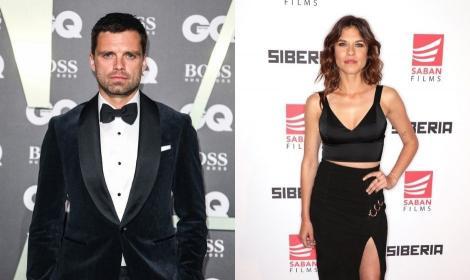 Sebastian Stan și Ana Uretu pe covorul rosu de la Hollywood, sunt imbracati in negru si se lasa fotografiati