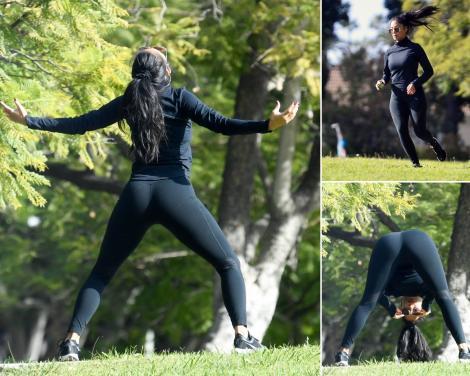 Nicole Scherzinger, fotografiata in LA, cand facea sport in parc