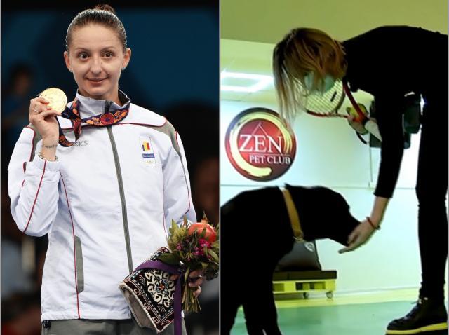 """Campioana Ana Maria Brânză, scene emoționante alături de """"copilașul"""" ei, cățelul Duras. O zi din viața sportivei este un carusel"""