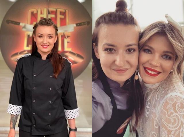 Roxana Blenche, participând la Chefi la Cuțite, împreună cu prezentatoarea Gina Pistol