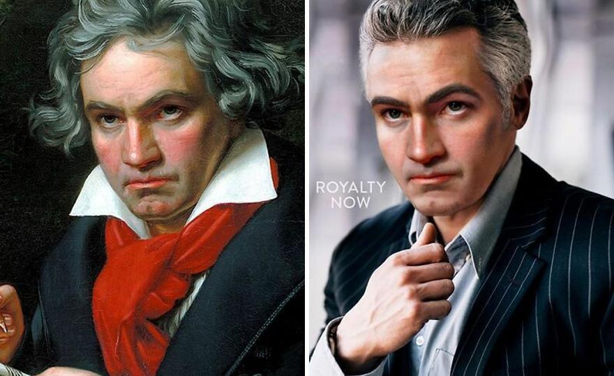 Ludwig Van Beethoven din 1800 și Ludwig Van Beethoven din 2020. Sunt imbracati diferit, primul are părul lung și o esarfa rosie la gat, iar cel de-al doilea este imbracat intr-o camasa albastra si sacou.
