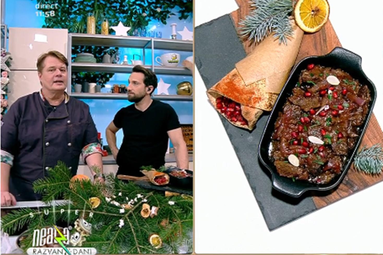 Rețetă de antricot de vițel cu ceapă și sos de rodie, gătită de Vlăduț la Neatza cu Răzvan și Dani