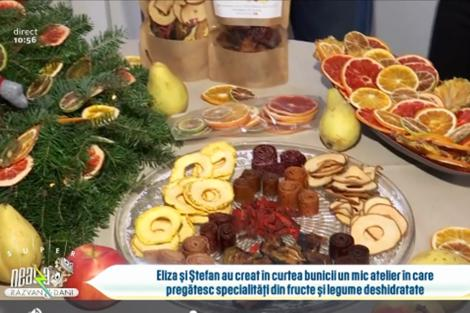 Gustări cu fructe și legume deshidratate cu arome de iarnă