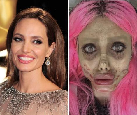 """Angelina Jolie, varianta """"zombie"""". Ce s-a intamplat cu femeia care s-a deformat total in incercarea de a semana cu celebra actrita"""