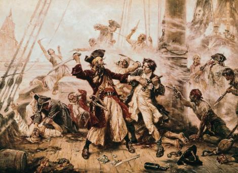 fotografie cu mai multe pirati care se lupta