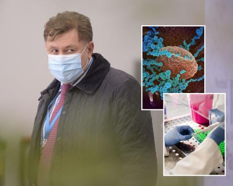 Alexandru Rafila si doua imagini cu noua tulpina de sars-cov-2, care provoaca boala covid-19