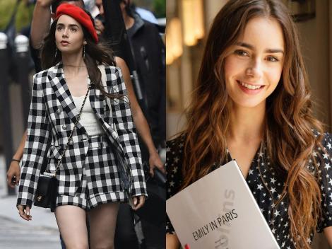 """Colaj cu Lily Collin. Actrița care joacă rolul lui Emily în serialul """"Emily in Paris"""" poartă o beretă roșie, franțuzească"""