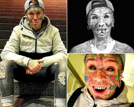 benny winter, un tanar din germania, care are multe tatuaje pe fata si restul corpului