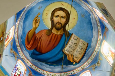 Imagine Iisus Hristos pe o biserica