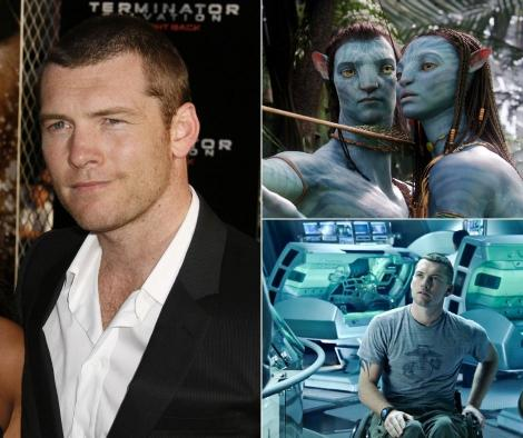 Sam Worthington pe platoul filmului Avatar si pe covorul rosu, imbracat la costum