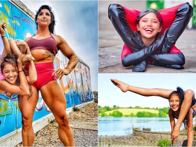 Colaj fata elastica, Liberty Barros, in pozitii de contorsionist