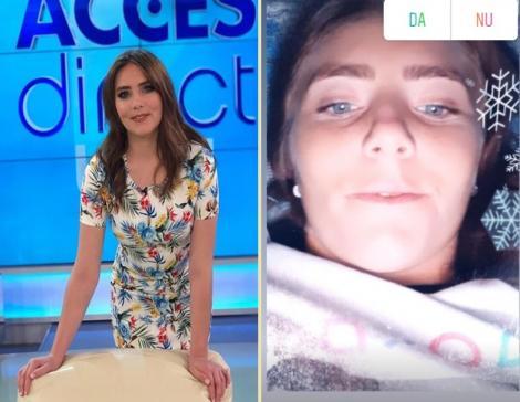 """Colaj foto: în stânge Vulpița Veronica în platoul emisiunii """"Acces Direct"""", în dreapta tânăra într-un InstaStory"""