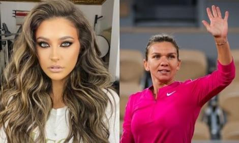 Antonia si Simona Halep intr-un colaj. Simona Halep poarta echipamentul de tenis de culoare roz, iar Antonia poarta o bluza alba