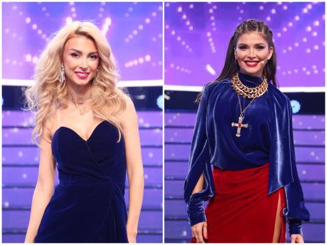 Colaj cu Andreea Bălan și ALina Pușcaș. Jurata TCDU a purtat o rochie albastră, scurtă, iar prezentatoarea a purtat o fustă roșie și o bluză albastră, în gala 13 TCDU