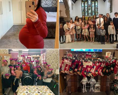 Sue Radford si copiii sai, 22 la numar, alaturi de care formeaza cea mai mare familie din marea britanie