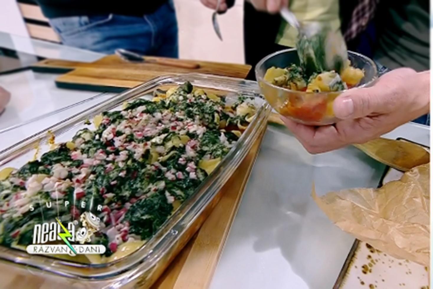 Rețetă de paste în sos de roșii  cu spanac și brânză de capră, gătită de Nicolai Tand la Neatza cu Răzvan și Dani