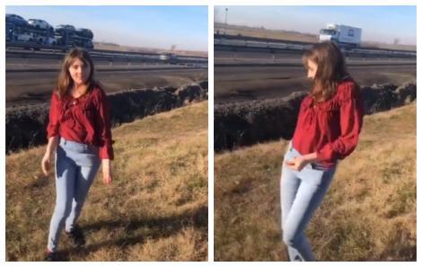 Veronica Vulpița, regina TikTok-ului! S-a rupt pe o manea, pe câmp, lângă autostradă! A fost filmată - VIDEO