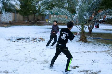 A nins la Bagdad, pentru a doua oară în ultimul secol. Reacția copiilor când și-au văzut orașul acoperit de zăpadă