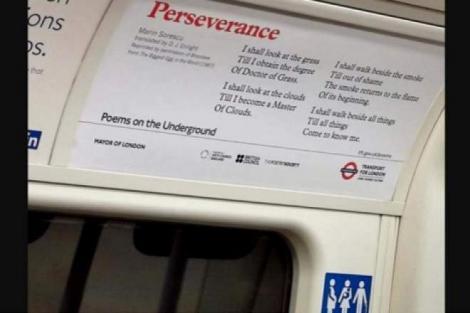 """""""Perseverență"""" Poezia lui Marin Sorescu, afișată în metroul din Londra """"Voi privi la nori, până voi ajunge Laureat"""""""
