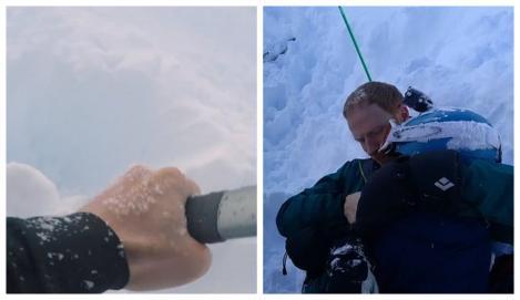 """""""N-am fost în viața mea mai speriat!"""". Un tată și-a salvat copilul surprins de o avalanșă. Momentul a fost filmat! Video"""