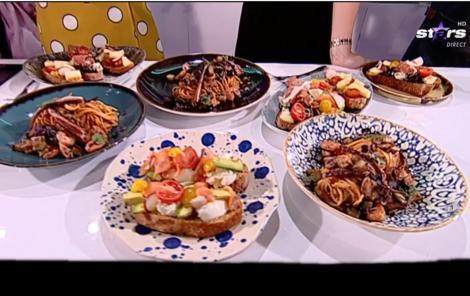 Reţetă de spaghete cu pesto roșu și fructe de mare și bruschete în trei variante - Rețeta lui Chef Munti