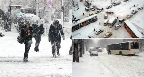 """Strat de 20 de centimetri de zăpadă, în București! Autoritățile iau măsuri de urgență în această noapte: """"Utilajele sunt pregătite"""""""