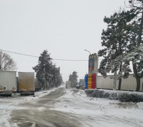 Traficul rutier prin PTF Negru Vodă a fost restricţionat pentru autovehiculele cu masa mai mare de 7,5 tone din cauza ninsorii