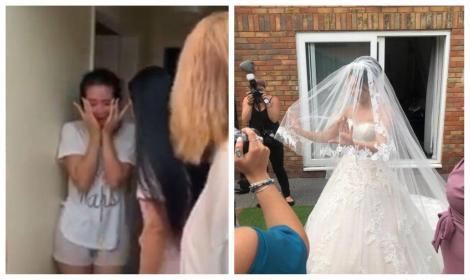 """""""Bună dimineața, astăzi te măriți!"""". O tânără din Marea Britanie s-a trezit cu o nuntă-supriză, chiar de ziua ei! Cum a reacționat mireasa! VIDEO"""