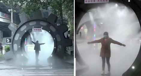 China, la nivel superior! Au montat tuneluri de dezinfectare împotriva COVID-19 pe străzi