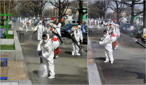 Așa se dezinfectează străile în București! În sectorul patru sunt vizate toate imobilele