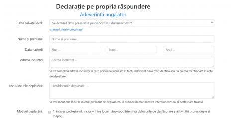 """A apărut un nou formular pentru deplasări. Autoritățile, apel către români: """"Nu ieșiți din case decât dacă este absolut necesar!"""" Documentul poate fi completat online"""