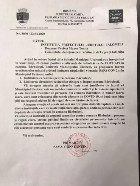 Primarul din Urziceni cere Prefecturii Ialomiţa şi MAI carantinarea comunei Bărbuleşti, care are foarte multe cazuri de infectare cu coronavirus
