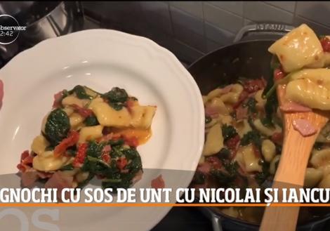Chef Nicolai Tand și Iancu ne învață cum se prepară Rețeta Gnocchi cu sos de spanac și bacon
