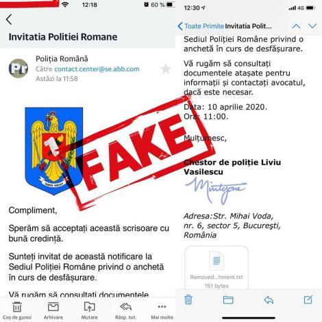 Poliţia Română anunţă trimiterea de e-mailuri în numele instituţiei, persoanele fiind invitate pentru o presupusă anchetă, şi anunţă că acestea sunt false