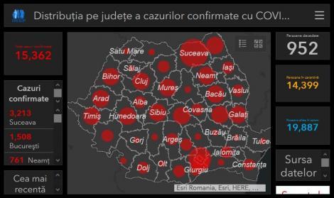 Numărul cazurilor de coronavirus pe județe, din România. Care sunt cele mai afectate orașe