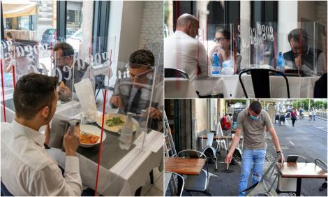 Așa ar arăta restaurantele, după redeschidere. La aceeași masă, separați de panouri de plexiglas - FOTO