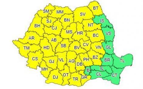 Cod galben de ploi torenţiale, descărcări electrice, vijelii şi grindină, de miercuri la prânz, în Banat, Crişana, Maramureş, Transilvania, Oltenia, local în Muntenia şi Moldova