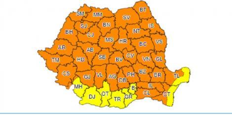 Cod portocaliu de ploi abundente grindină şi vijelii în întreaga ţară, începând de la ora 13:00