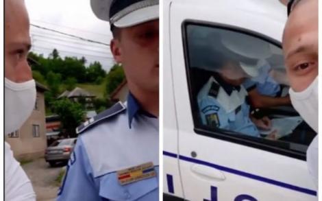 """""""Uitați-i, nu poartă măști!"""" Un tânăr care a filmat polițiștii nerespectând legea a fost încătușat, dus la secție și amendat"""