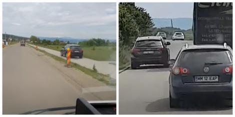 Momentul în care șoferul unei mașini de lux gonește în afara carosabilului, iar apoi depășește un TIR, pe linie continuă. Cum s-a terminat totul (VIDEO)