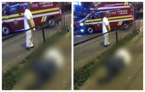 Imagini uluitoare, în fața spitalului Floreasca din București! Un bărbat prăbușit pe trotuar, ignorat total! VIDEO
